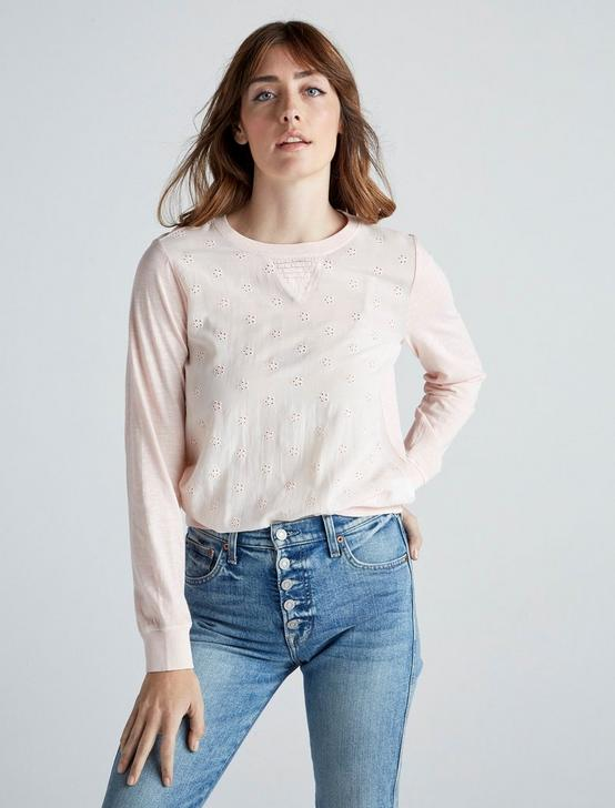 MIX MEDIA PULLOVER TOP, WASHED PINK, productTileDesktop