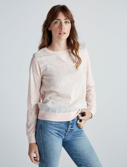 MIX MEDIA PULLOVER, WASHED PINK