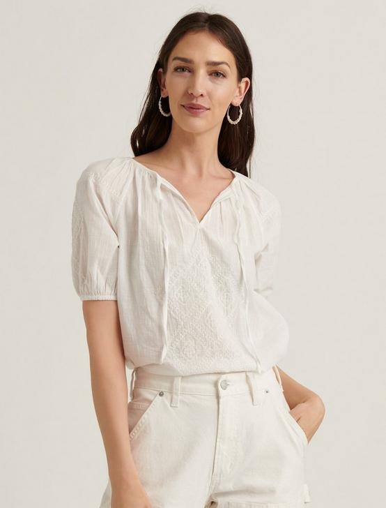 EMBROIDERED SHORT SLEEVE PEASANT TOP, BRIGHT WHITE, productTileDesktop