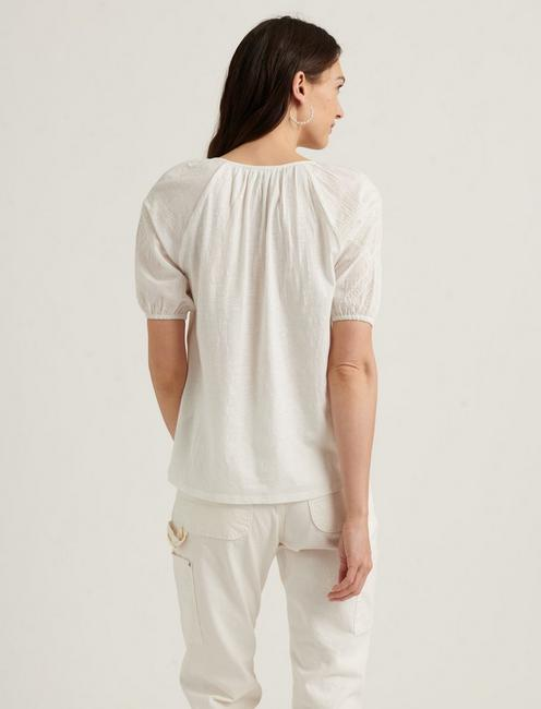 EMBROIDERED SHORT SLEEVE PEASANT TOP, BRIGHT WHITE