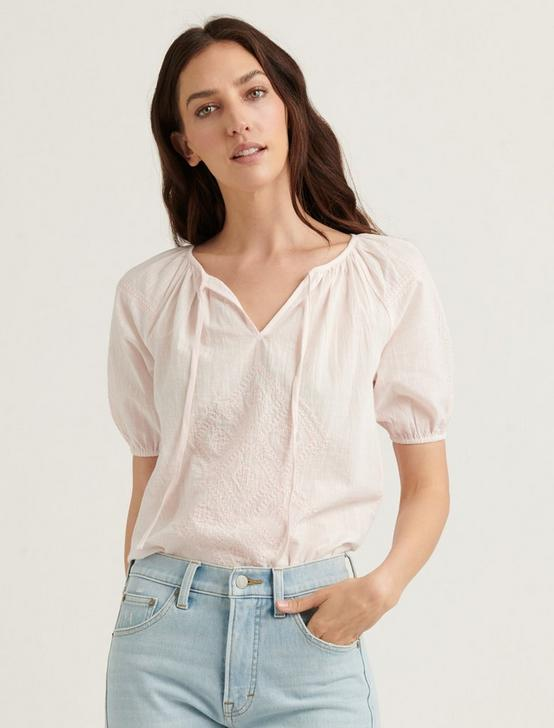 EMBROIDERED SHORT SLEEVE PEASANT TOP, MAUVE MORN, productTileDesktop