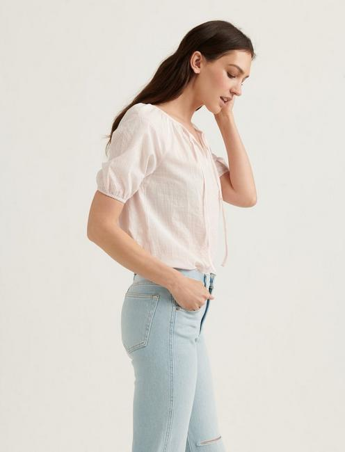 EMBROIDERED SHORT SLEEVE PEASANT, MAUVE MORN