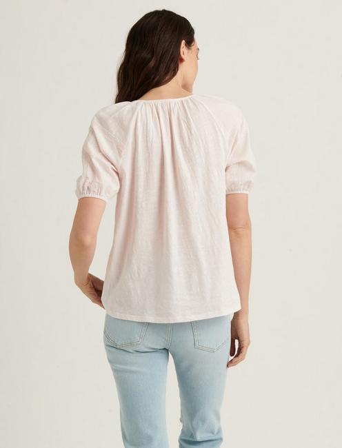 EMBROIDERED SHORT SLEEVE PEASANT TOP, MAUVE MORN