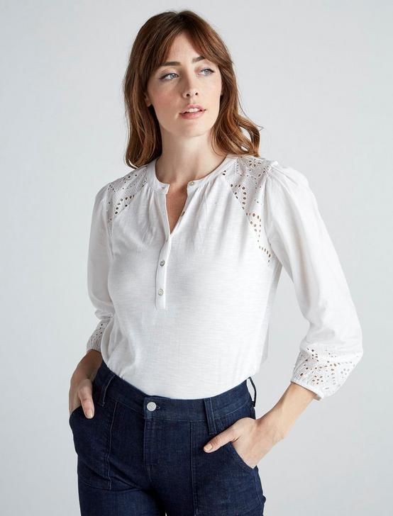 EYELET RAGLAN HENLEY, BRIGHT WHITE, productTileDesktop