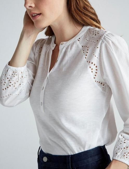 EYELET RAGLAN HENLEY TOP, BRIGHT WHITE