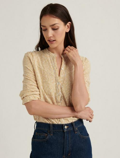 STRIPE SEERSUCKER SHIRT, YELLOW STRIPE