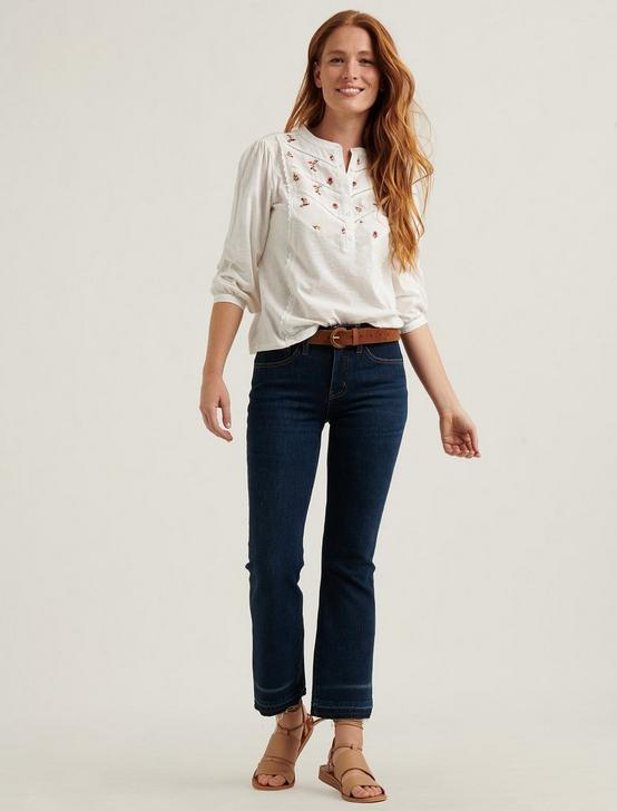 Embroidered Henley Top