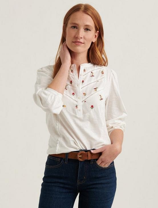 EMBROIDERED HENLEY TOP, LUCKY WHITE, productTileDesktop
