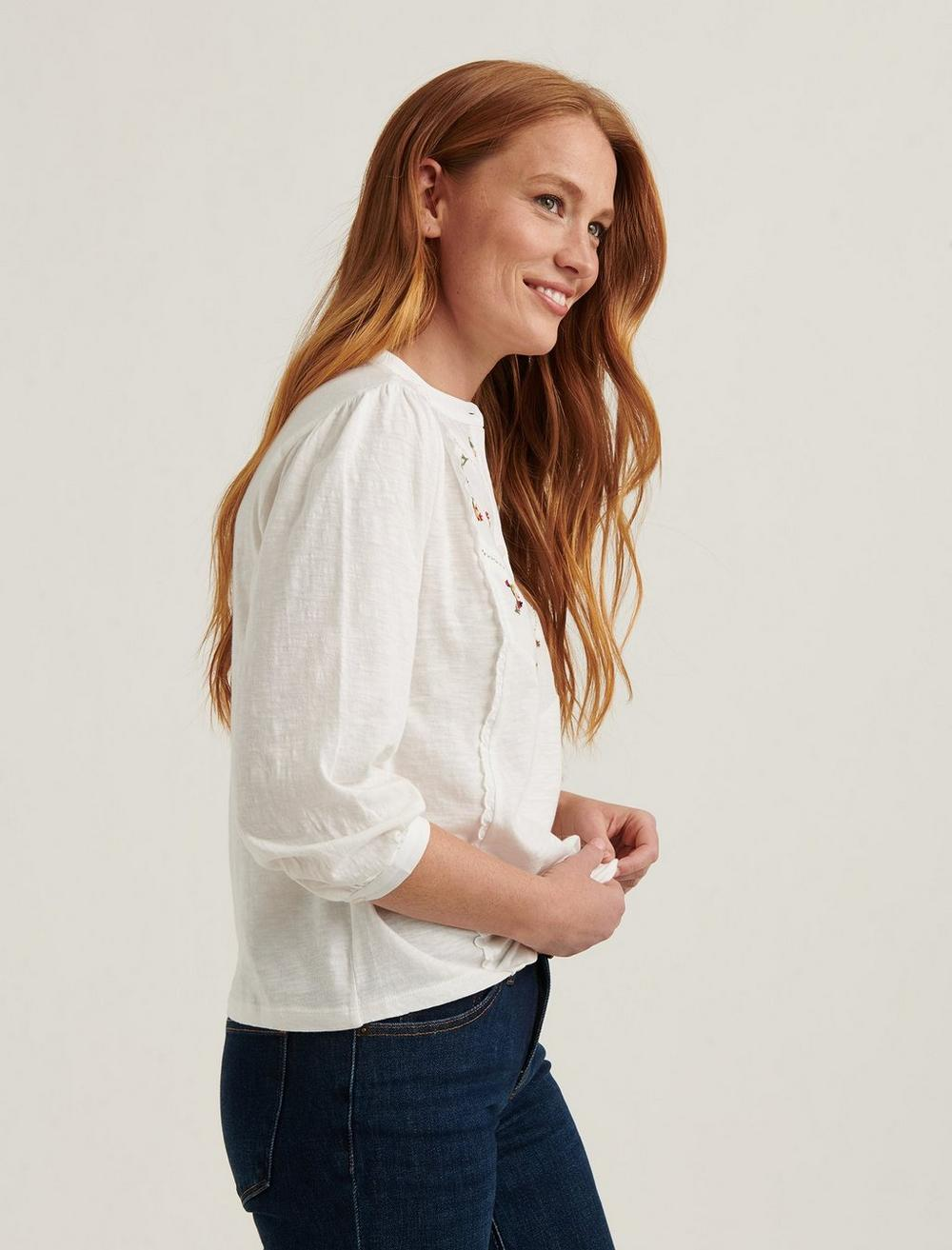 EMBROIDERED HENLEY TOP, image 3
