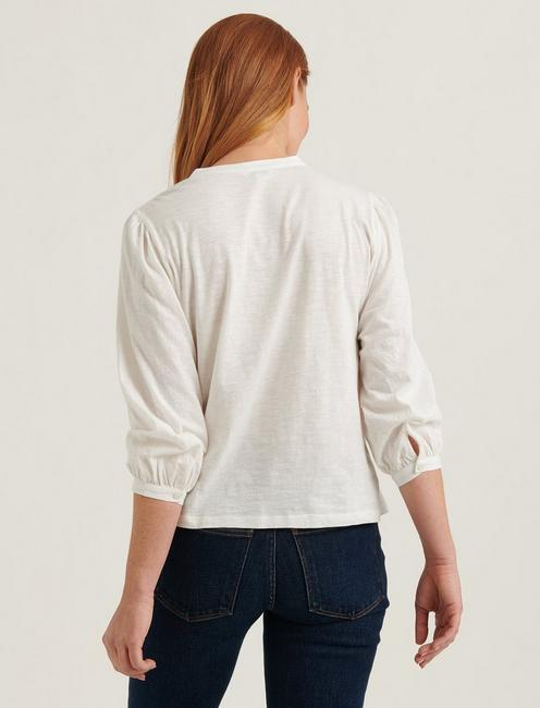 EMBROIDERED HENLEY TOP, LUCKY WHITE