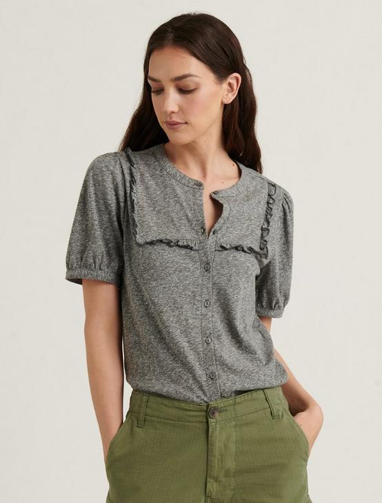RUFFLE BIB SHORT SLEEVE TOP, HEATHER GREY, productTileDesktop