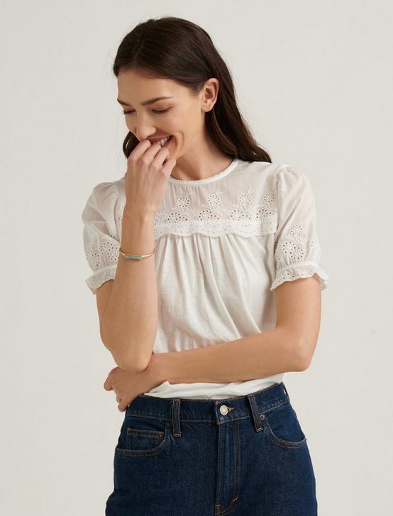 WOVEN MIX SHORT SLEEVE TOP, BRIGHT WHITE, productTileDesktop