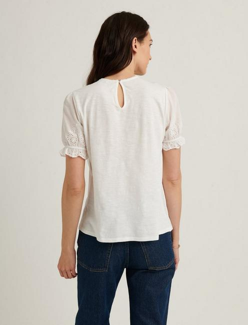 WOVEN MIX SHORT SLEEVE TOP, BRIGHT WHITE