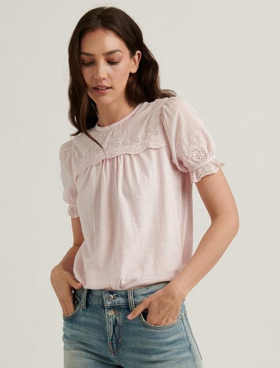 WOVEN MIX SHORT SLEEVE TOP, PRIMROSE PINK, productTileDesktop