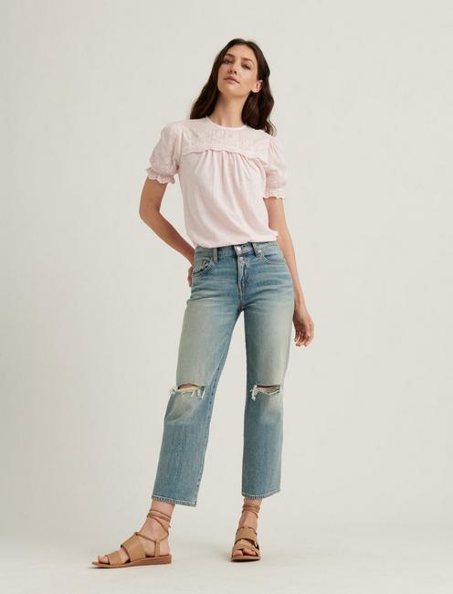 WOVEN MIX SHORT SLEEVE TOP, PRIMROSE PINK