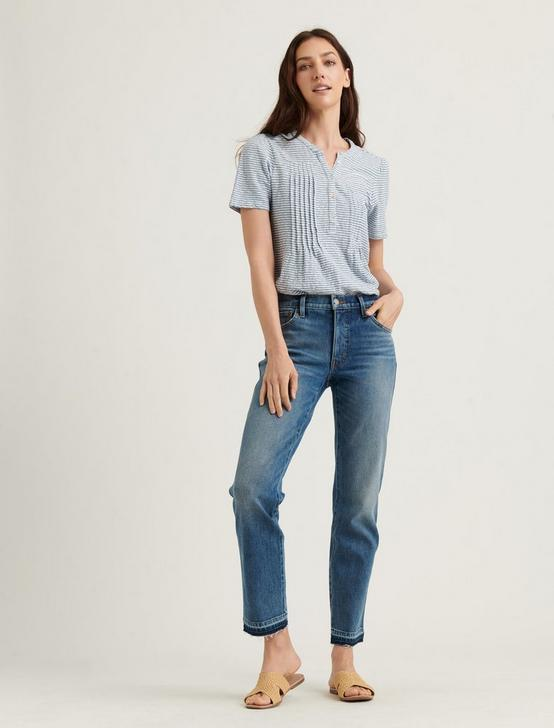 SEERSUCKER SHORT SLEEVE KNIT TOP, BLUE STRIPE, productTileDesktop