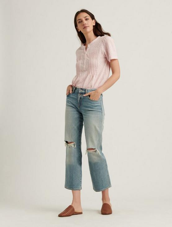 SEERSUCKER SHORT SLEEVE KNIT TOP, PINK STRIPE, productTileDesktop