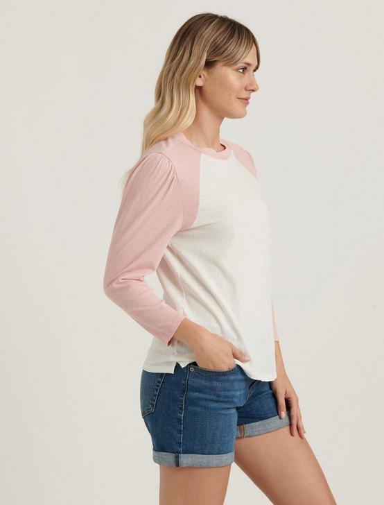 BASEBALL PUFF SLEEVE TEE, WHITE/PINK, productTileDesktop