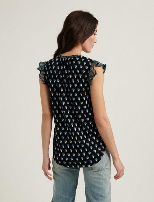 WOODBLOCK PRINTED TANK, BLACK MULTI