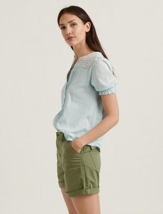 SHORT SLEEVE WOVEN MIX TOP, STARLIGHT BLUE, productTileDesktop