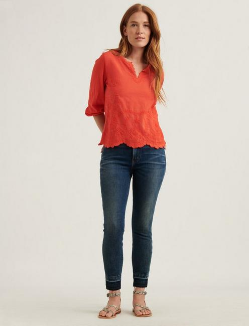 V-NECK LONG SLEEVE TOP, #8378 GRENADINE