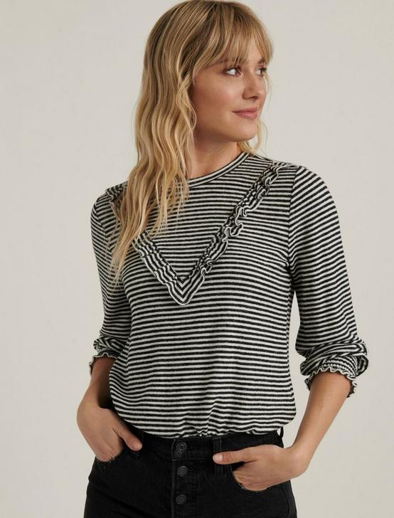 CLOUD JERSEY RUFFLED TOP, BLACK/WHITE STRIPE, productTileDesktop