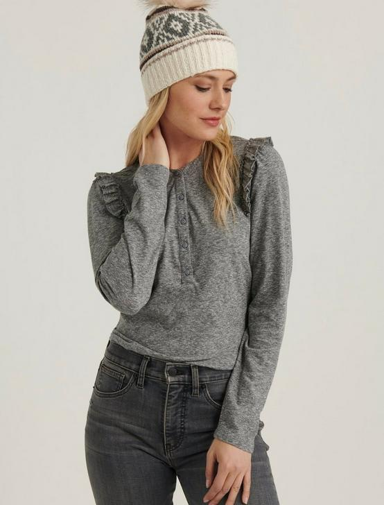 RUFFLED HENLEY  TOP, HEATHER GREY, productTileDesktop
