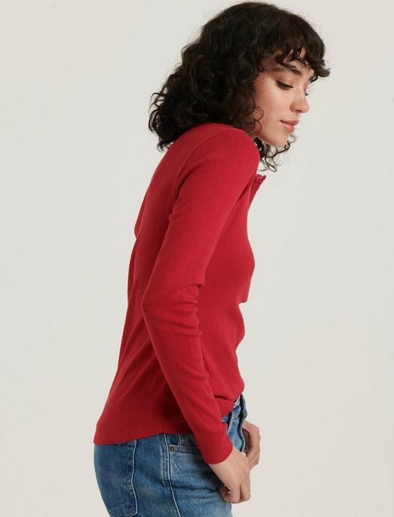 HEART POINTELLE HENLEY THERMAL, SCOOTER RED, productTileDesktop
