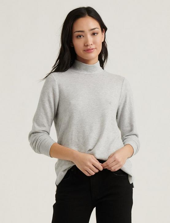 MOCK NECK CLOUD JERSEY TOP, HEATHER GREY, productTileDesktop