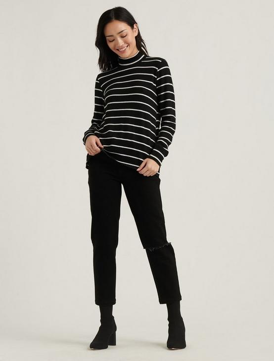MOCK NECK CLOUD JERSEY TOP, BLACK/WHITE STRIPE, productTileDesktop
