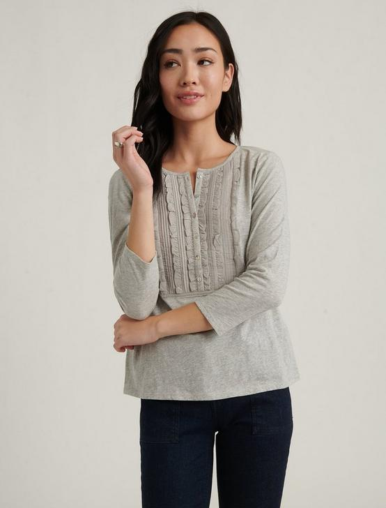 RUFFLE BIB TOP, HEATHER GREY, productTileDesktop