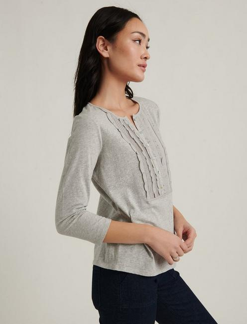 RUFFLE BIB TOP, HEATHER GREY