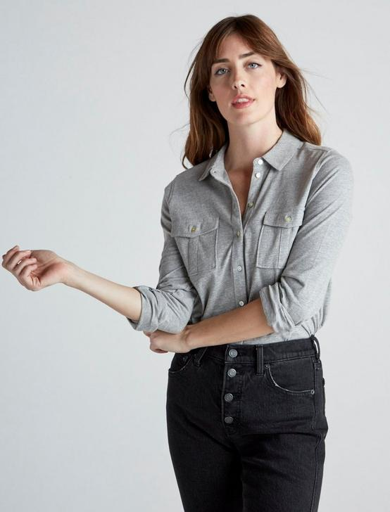 DOUBLE POCKET KNIT SHIRT, HEATHER GREY, productTileDesktop