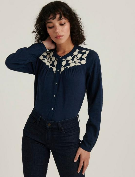 EMBROIDERED YOKE BUTTON DOWN, AMERICAN NAVY, productTileDesktop