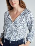 PRINTED KNIT BLOUSE, BLUE MULTI