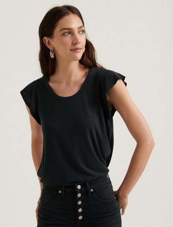 RUFFLE SLEEVE SANDWASH TOP, 001 LUCKY BLACK, productTileDesktop