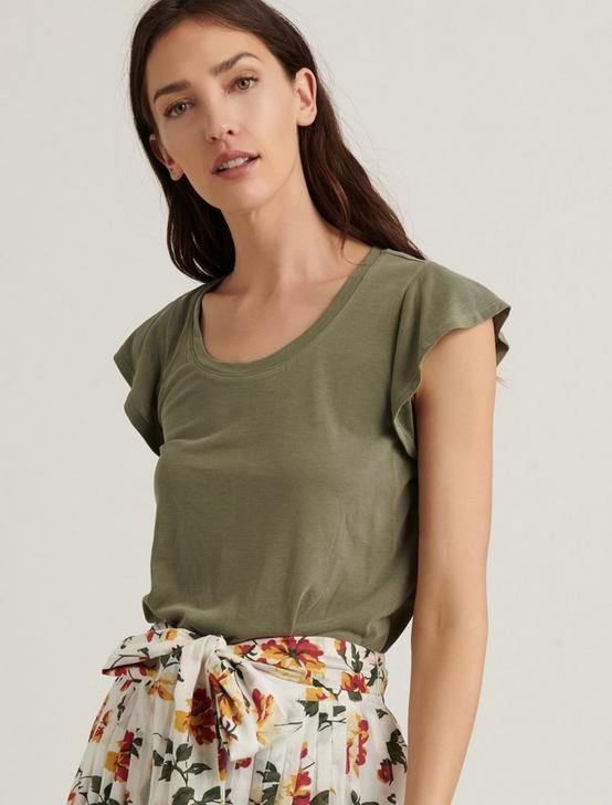 RUFFLE SLEEVE SANDWASH TOP, OLIVE, productTileDesktop