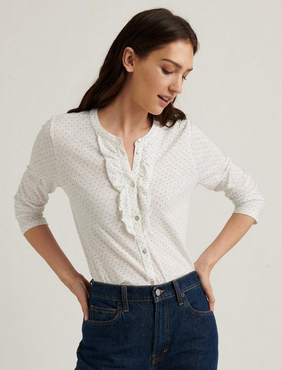 POLKA DOT RUFFLE HENLEY TOP, WHITE/NAVY, productTileDesktop