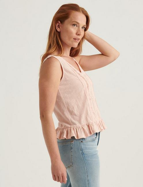 PEPLUM TANK TOP, TROPICAL PEACH