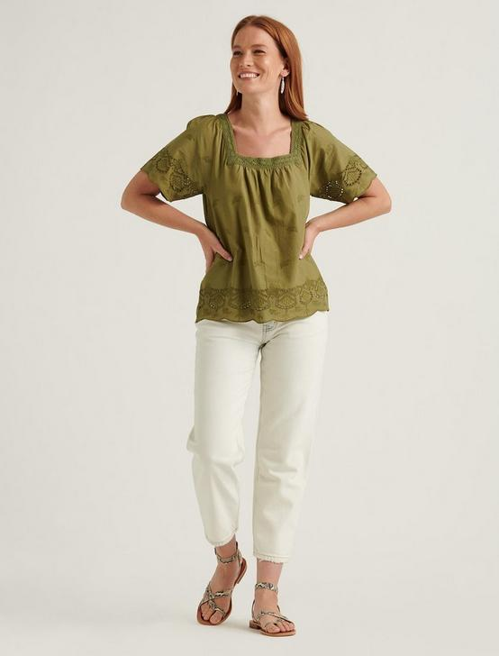 LACE MIX SHORT SLEEVE PEASANT TOP, OLIVINE, productTileDesktop