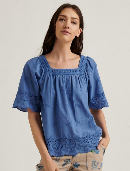 LACE MIX SHORT SLEEVE PEASANT TOP, SODALITE, productTileDesktop