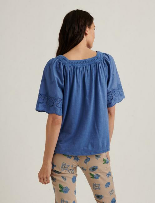 LACE MIX SHORT SLEEVE PEASANT TOP, SODALITE