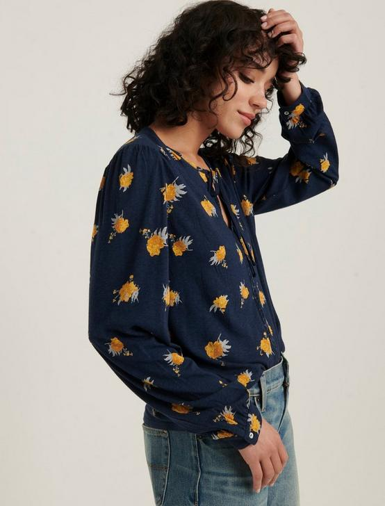 PRINTED PEASANT TOP, NAVY MULTI, productTileDesktop