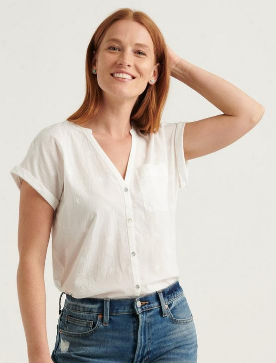 SHORT SLEEVE WOVEN MIX BUTTON DOWN TOP, LUCKY WHITE, productTileDesktop