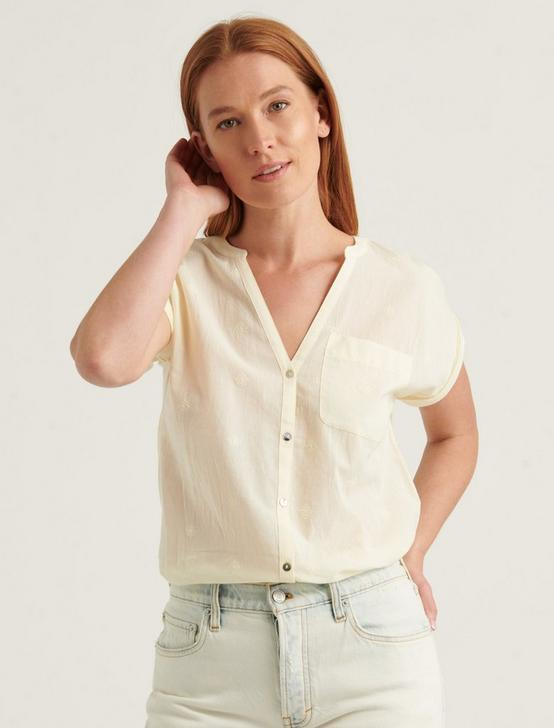 SHORT SLEEVE WOVEN MIX BUTTON DOWN TOP, TRANSPARENT YELLOW, productTileDesktop