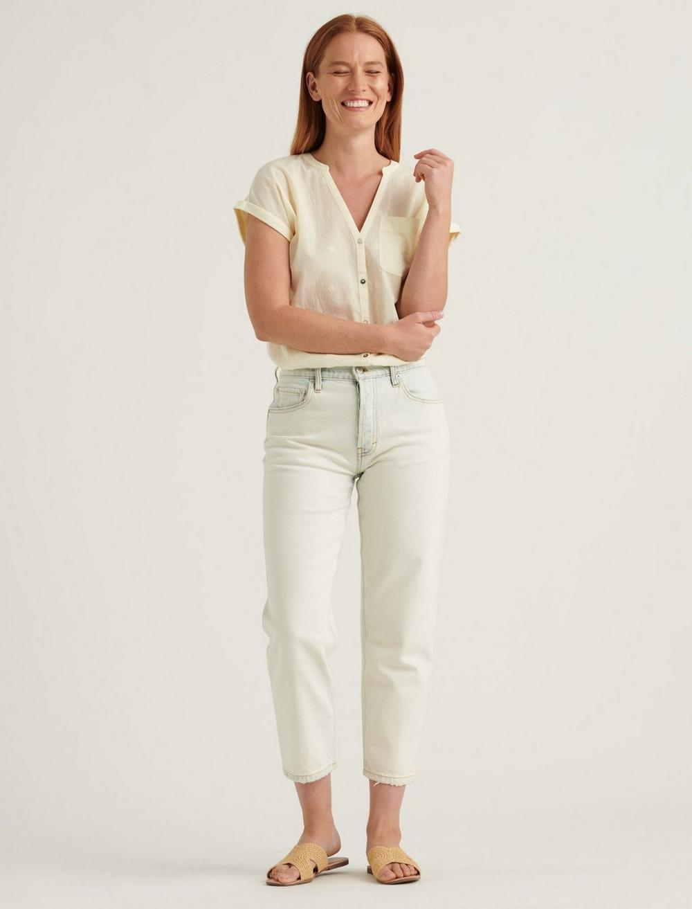SHORT SLEEVE WOVEN MIX BUTTON DOWN TOP, image 2