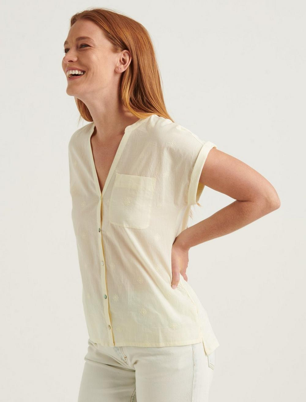 SHORT SLEEVE WOVEN MIX BUTTON DOWN TOP, image 3