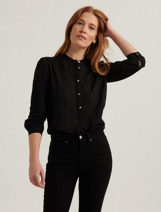 WOVEN MIX BUTTONDOWN TOP, 001 LUCKY BLACK, productTileDesktop