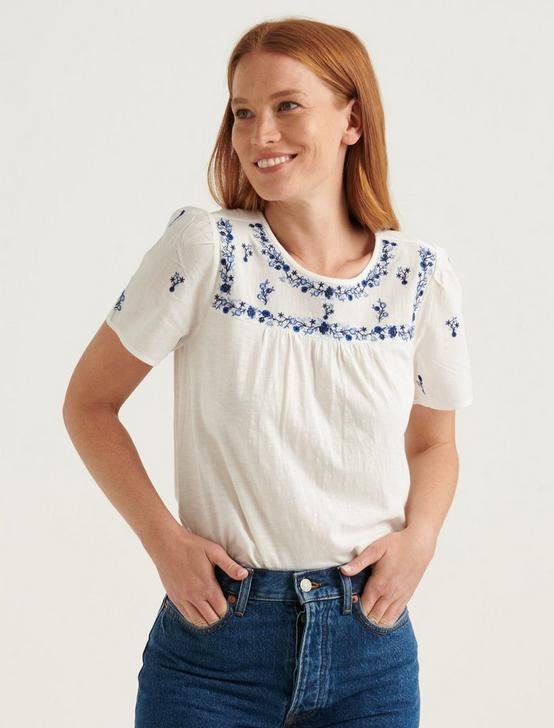 EMBROIDERED BIB KNIT MIX TOP, BRIGHT WHITE, productTileDesktop