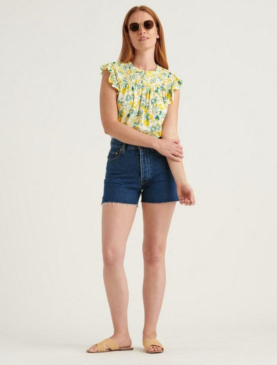 PRINTED SMOCKED SLEEVELESS TOP, YELLOW MULTI, productTileDesktop